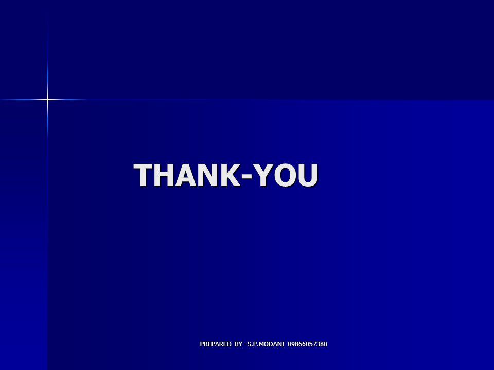 PREPARED BY -S.P.MODANI 09866057380 THANK-YOU THANK-YOU