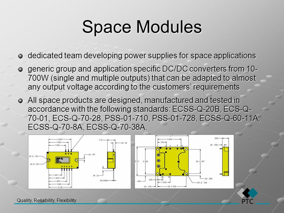Quality, Reliability, Flexibility Space Modules dedicated team developing power supplies for space applications generic group and application specific