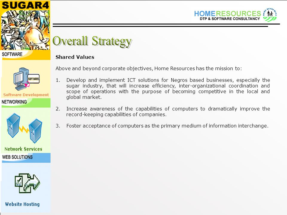 Shared Values Above and beyond corporate objectives, Home Resources has the mission to: 1.Develop and implement ICT solutions for Negros based businesses, especially the sugar industry, that will increase efficiency, inter-organizational coordination and scope of operations with the purpose of becoming competitive in the local and global market.