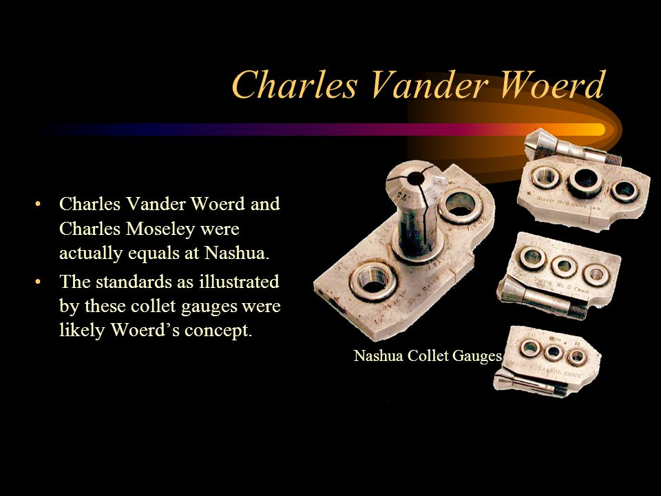 Charles Vander Woerd Charles Vander Woerd and Charles Moseley were actually equals at Nashua. The standards as illustrated by these collet gauges were
