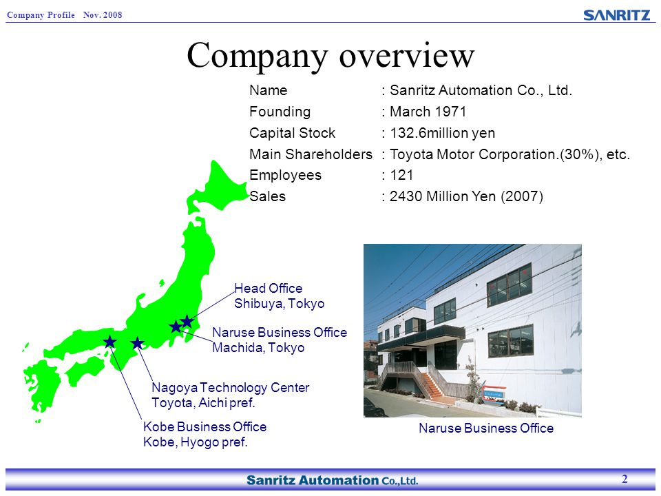 2 Company Profile Nov. 2008 2 Company overview Name: Sanritz Automation Co., Ltd. Founding : March 1971 Capital Stock: 132.6million yen Main Sharehold