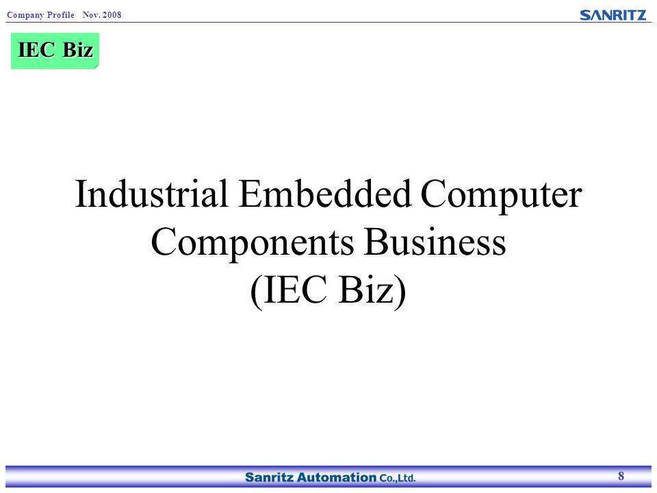 8 Company Profile Nov. 2008 8 Industrial Embedded Computer Components Business (IEC Biz) IEC Biz