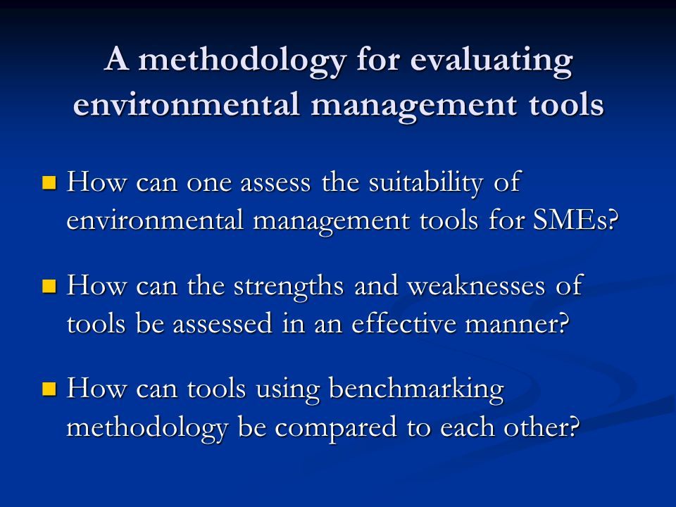 How can one assess the suitability of environmental management tools for SMEs.