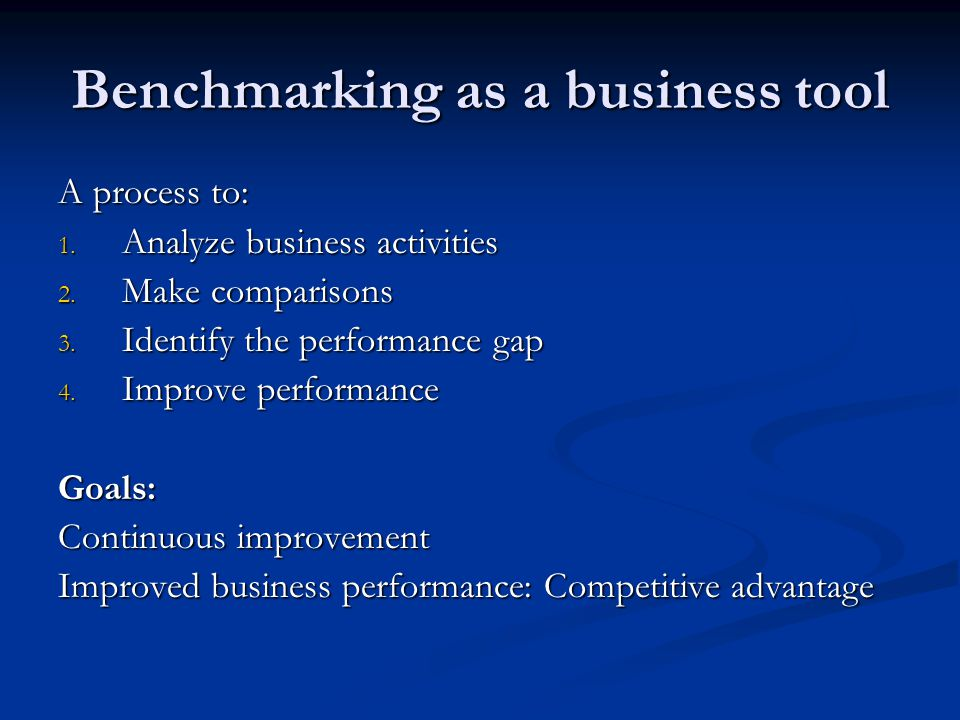 Environmental benchmarking An environmental management tool An environmental management tool Benchmarking of environmental performance by measuring and comparing key figures Benchmarking of environmental performance by measuring and comparing key figures A tool to help companies assess their level of environmental performance and improve it A tool to help companies assess their level of environmental performance and improve it Leads to cost savings and improved competitiveness Leads to cost savings and improved competitiveness