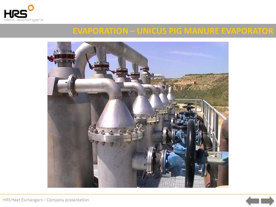 HRS Heat Exchangers – Company presentation EVAPORATION – UNICUS PIG MANURE EVAPORATOR