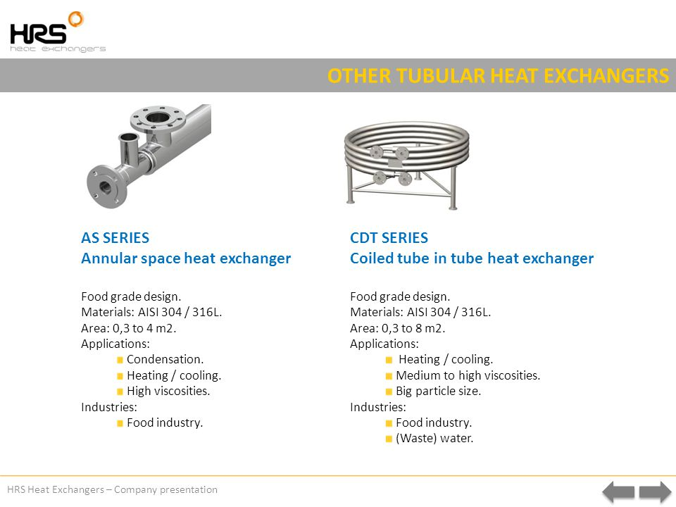 HRS Heat Exchangers – Company presentation OTHER TUBULAR HEAT EXCHANGERS AS SERIES Annular space heat exchanger Food grade design.