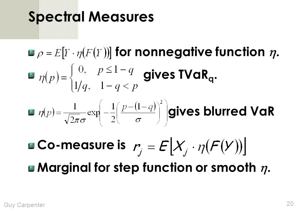 Guy Carpenter 20 Spectral Measures for nonnegative function .