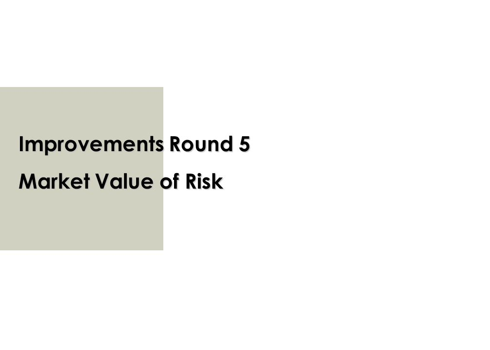 Improvements Round 5 Market Value of Risk