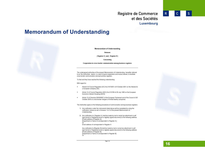 Memorandum of Understanding 16
