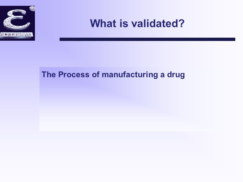 What is validated The Process of manufacturing a drug