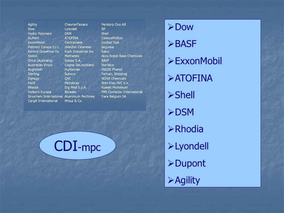  Dow  BASF  ExxonMobil  ATOFINA  Shell  DSM  Rhodia  Lyondell  Dupont  Agility CDI -mpc