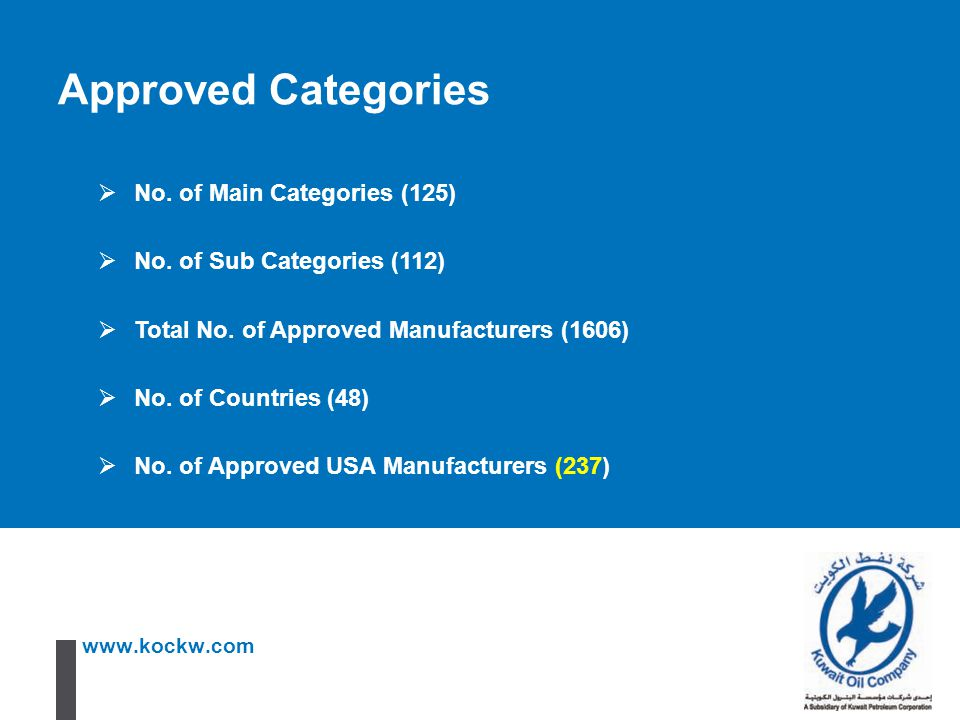 www.kockw.com Approved Categories  No. of Main Categories (125)  No. of Sub Categories (112)  Total No. of Approved Manufacturers (1606)  No. of C