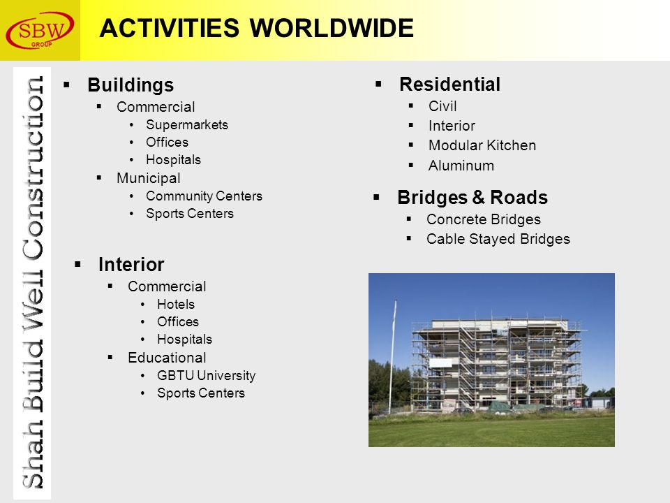 ACTIVITIES WORLDWIDE  Buildings  Commercial Supermarkets Offices Hospitals  Municipal Community Centers Sports Centers  Residential  Civil  Interior  Modular Kitchen  Aluminum  Interior  Commercial Hotels Offices Hospitals  Educational GBTU University Sports Centers  Bridges & Roads  Concrete Bridges  Cable Stayed Bridges