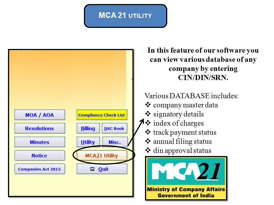 MCA 21 UTILITY In this feature of our software you can view various database of any company by entering CIN/DIN/SRN.
