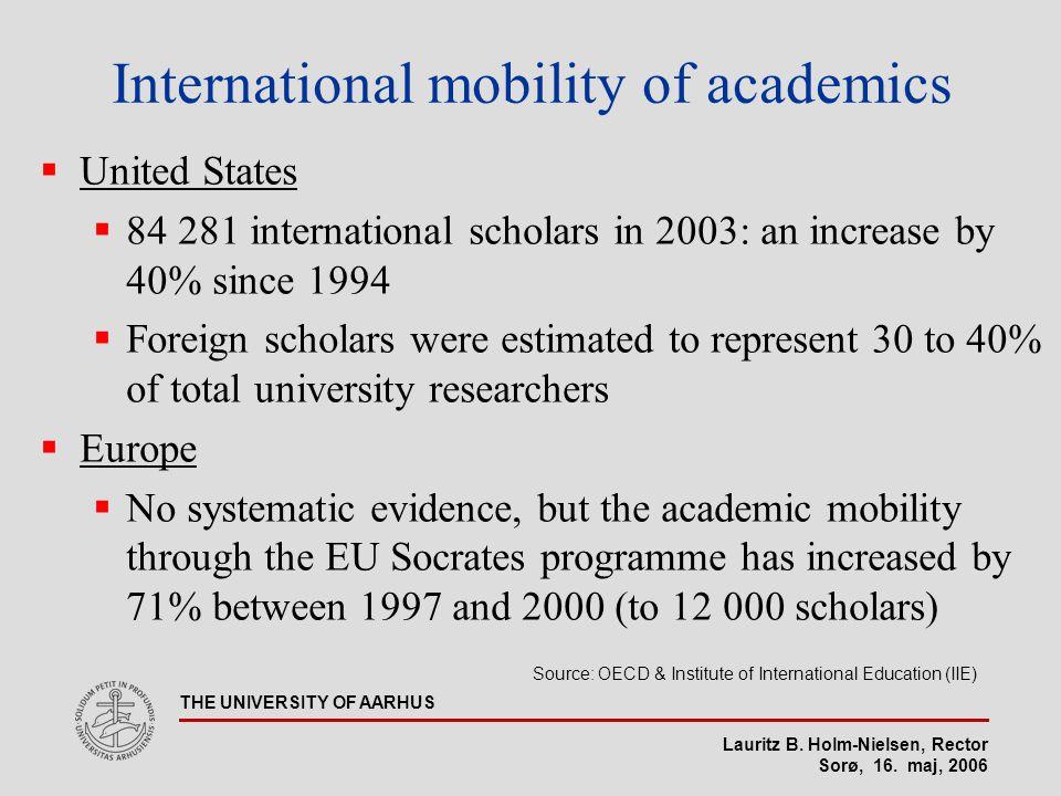 Lauritz B. Holm-Nielsen, Rector Sorø, 16. maj, 2006 THE UNIVERSITY OF AARHUS International mobility of academics  United States  84 281 internationa