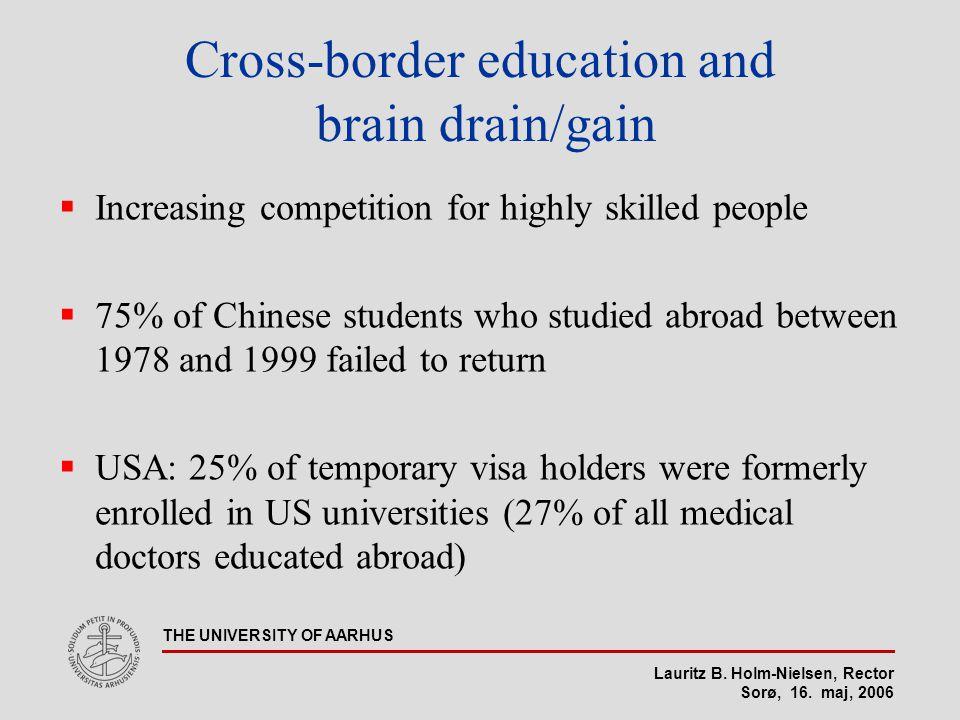Lauritz B. Holm-Nielsen, Rector Sorø, 16. maj, 2006 THE UNIVERSITY OF AARHUS Cross-border education and brain drain/gain  Increasing competition for