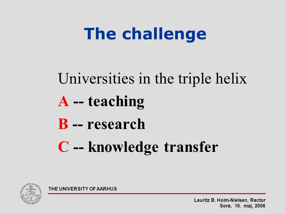 Lauritz B. Holm-Nielsen, Rector Sorø, 16. maj, 2006 THE UNIVERSITY OF AARHUS The challenge Universities in the triple helix A -- teaching B -- researc