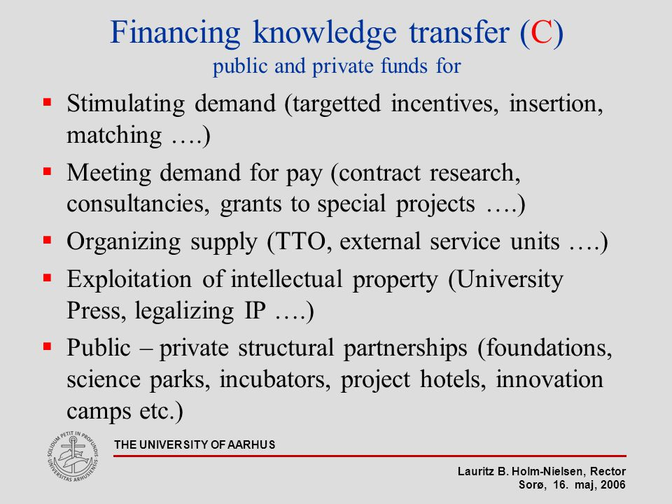 Lauritz B. Holm-Nielsen, Rector Sorø, 16. maj, 2006 THE UNIVERSITY OF AARHUS Financing knowledge transfer (C) public and private funds for  Stimulati