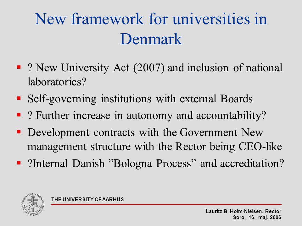 Lauritz B. Holm-Nielsen, Rector Sorø, 16. maj, 2006 THE UNIVERSITY OF AARHUS New framework for universities in Denmark  ? New University Act (2007) a