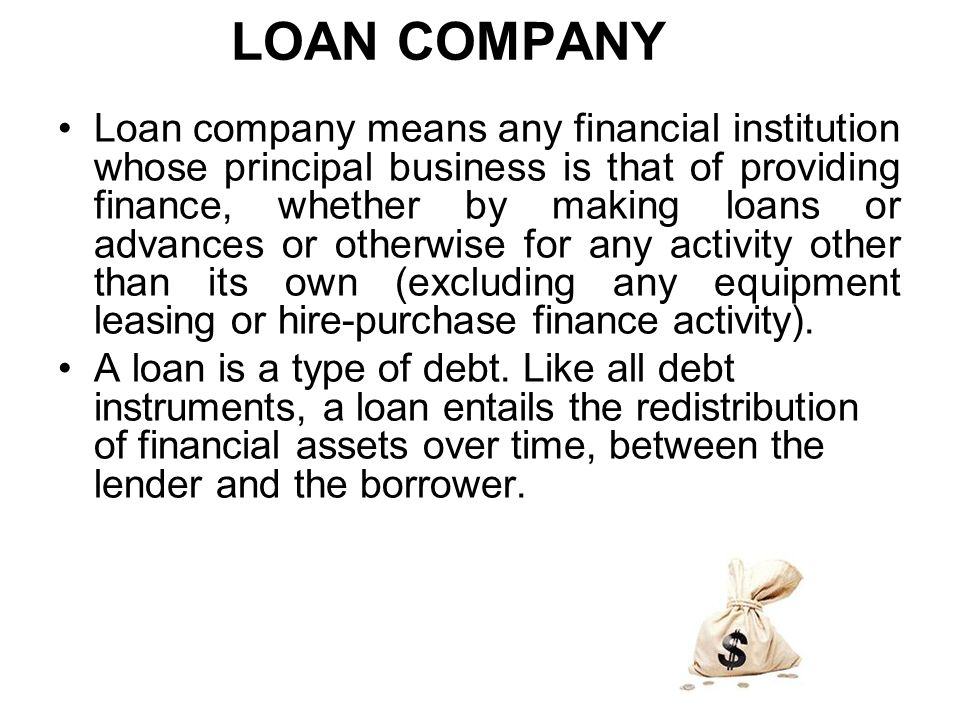 LOAN COMPANY Loan company means any financial institution whose principal business is that of providing finance, whether by making loans or advances or otherwise for any activity other than its own (excluding any equipment leasing or hire-purchase finance activity).