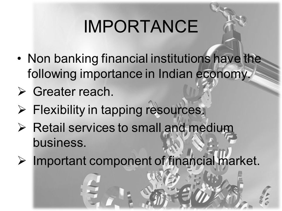 IMPORTANCE Non banking financial institutions have the following importance in Indian economy.  Greater reach.  Flexibility in tapping resources. 