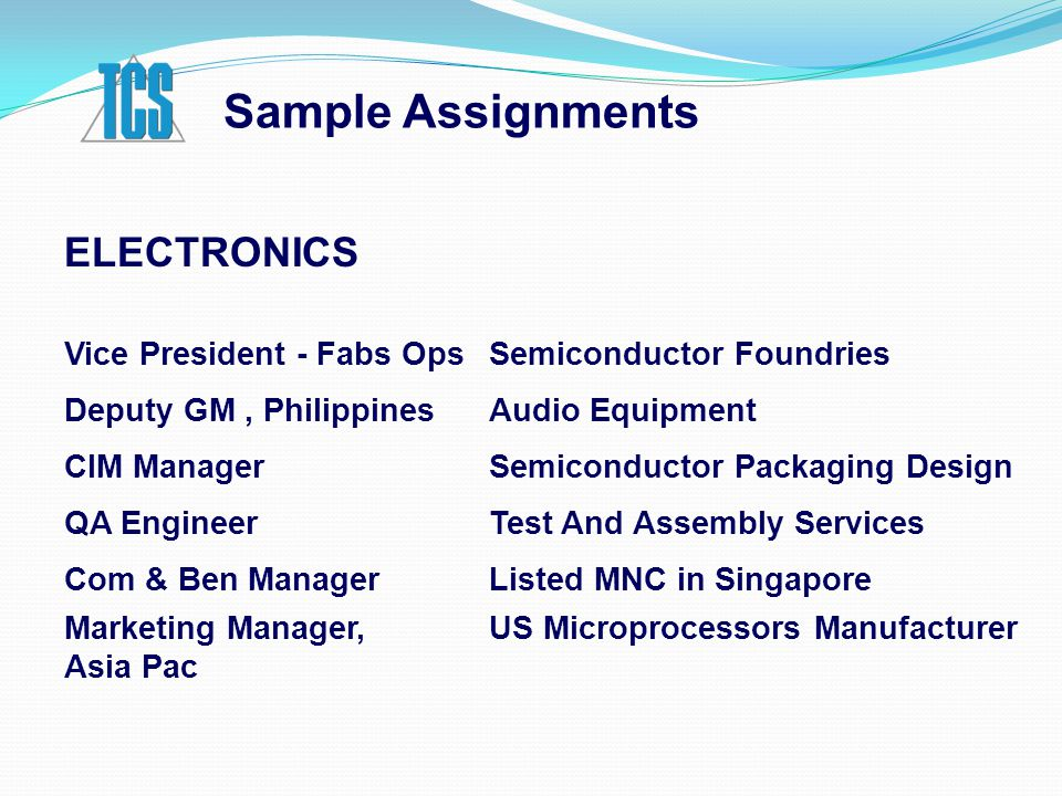 Sample Assignments ELECTRONICS Vice President - Fabs OpsSemiconductor Foundries Deputy GM, PhilippinesAudio Equipment CIM ManagerSemiconductor Packagi