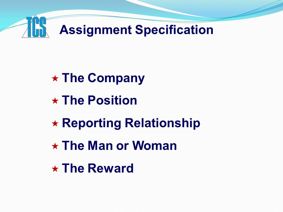 Assignment Specification  The Company  The Position  Reporting Relationship  The Man or Woman  The Reward