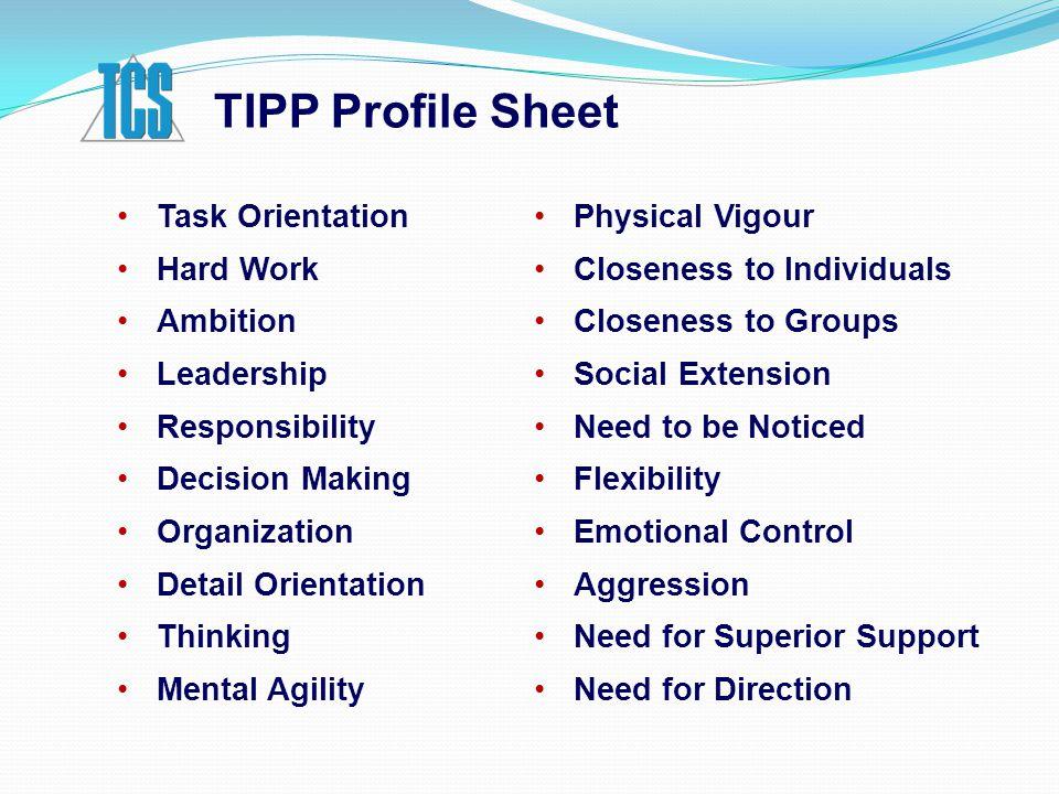 TIPP Profile Sheet Task Orientation Hard Work Ambition Leadership Responsibility Decision Making Organization Detail Orientation Thinking Mental Agili