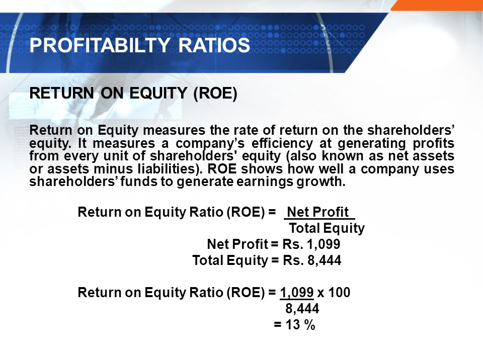 PROFITABILTY RATIOS RETURN ON EQUITY (ROE) Return on Equity measures the rate of return on the shareholders' equity.