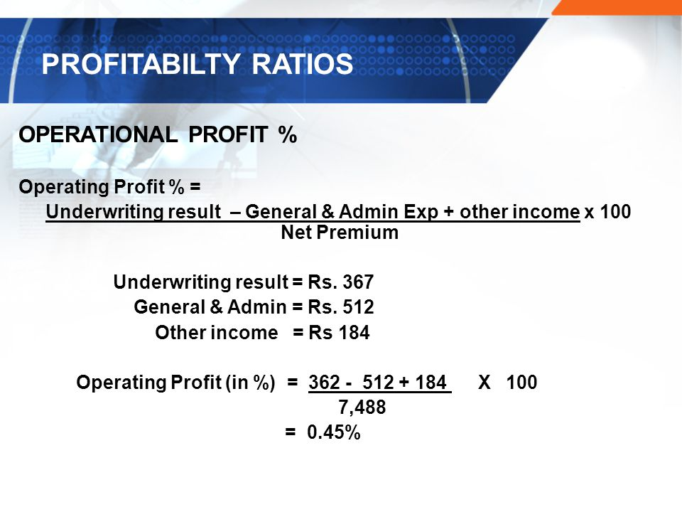 OPERATIONAL PROFIT % Operating Profit % = Underwriting result – General & Admin Exp + other income x 100 Net Premium Underwriting result = Rs.