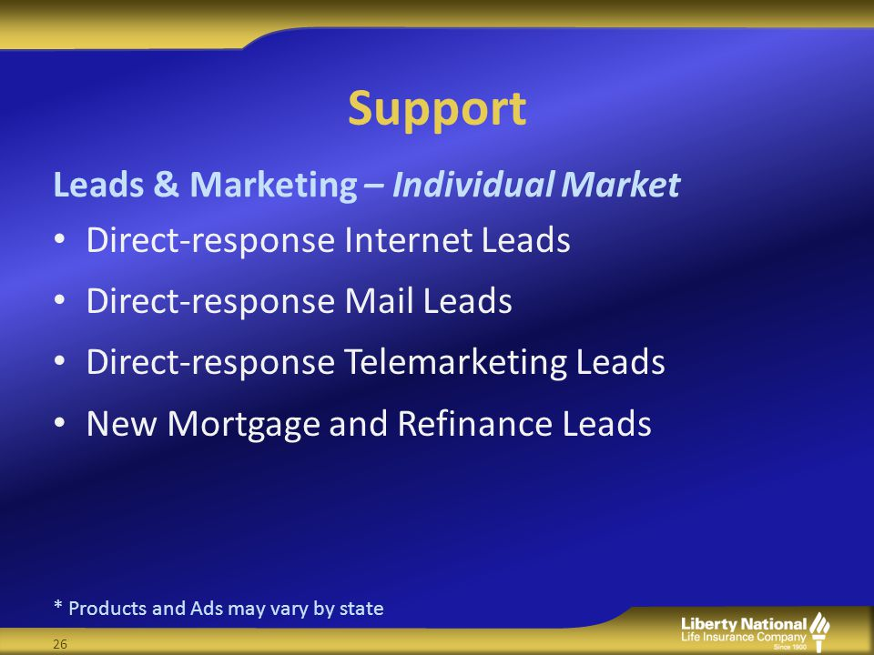 Support Direct-response Internet Leads Direct-response Mail Leads Direct-response Telemarketing Leads New Mortgage and Refinance Leads Leads & Marketing – Individual Market * Products and Ads may vary by state 26