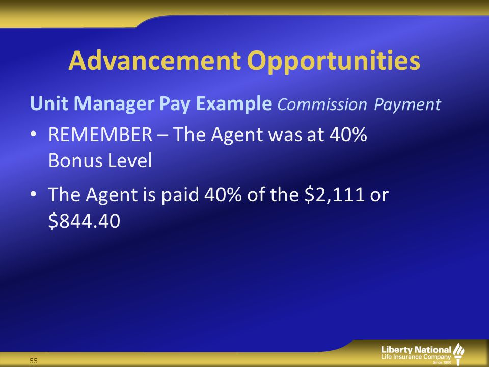 Advancement Opportunities REMEMBER – The Agent was at 40% Bonus Level The Agent is paid 40% of the $2,111 or $844.40 Unit Manager Pay Example Commission Payment 55
