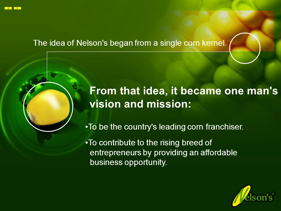 Wholesome Goodness On The Go! World's Fastest Growing Corn & Snack Franchiser www.nelsons.com.my