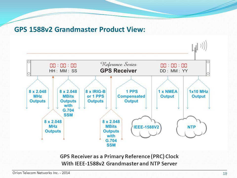 Orion Telecom Networks Inc. - 2014 19 GPS Receiver as a Primary Reference (PRC) Clock With IEEE-1588v2 Grandmaster and NTP Server GPS 1588v2 Grandmast