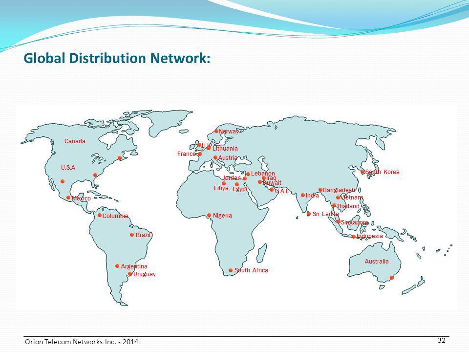 Orion Telecom Networks Inc. - 2014 Argentina Austria Bangladesh Brazil Canada Columbia France Indonesia Iraq Jordan Kuwait Lebanon Lithuania Mexico Ni