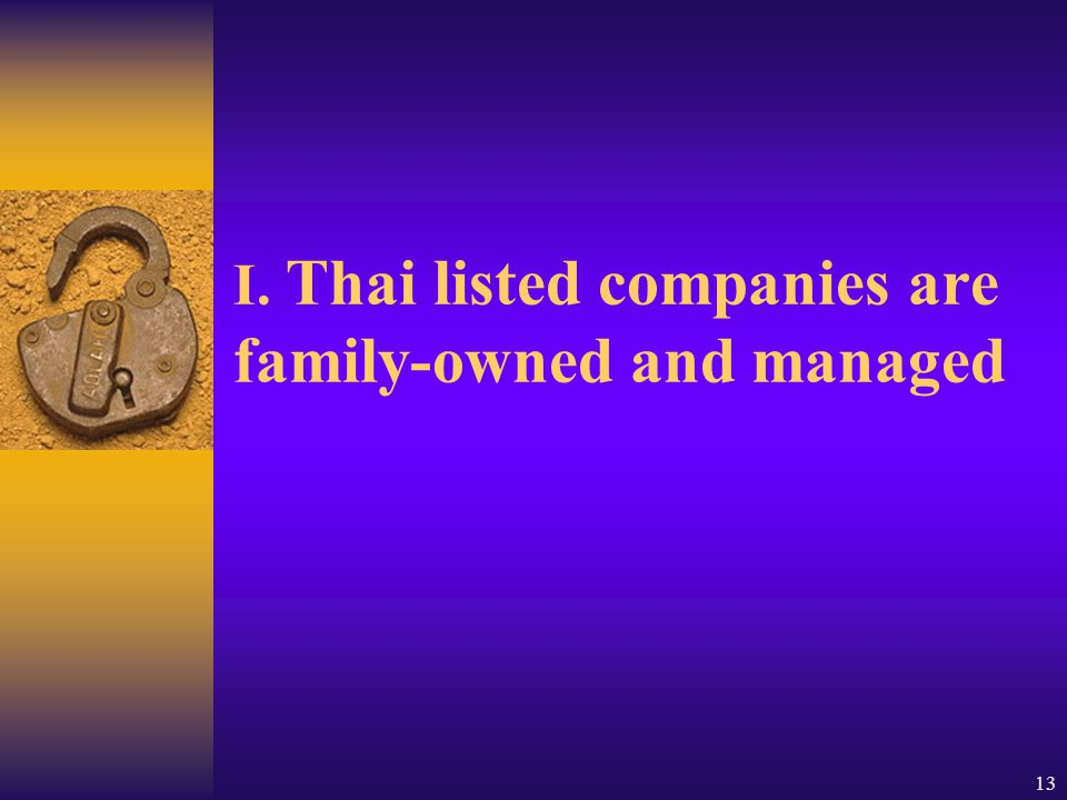 13 I. Thai listed companies are family-owned and managed