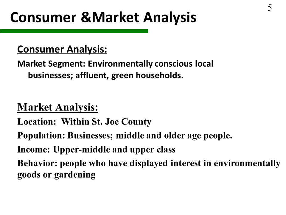Consumer &Market Analysis Consumer Analysis: Market Segment: Environmentally conscious local businesses; affluent, green households.