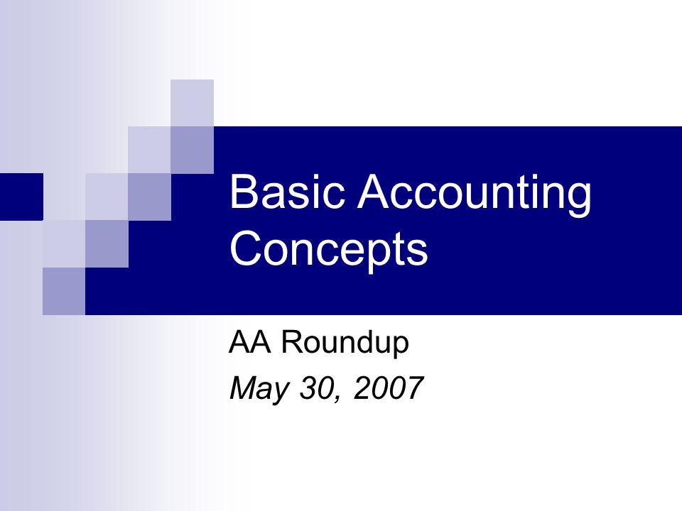 Basic Accounting Concepts AA Roundup May 30, 2007