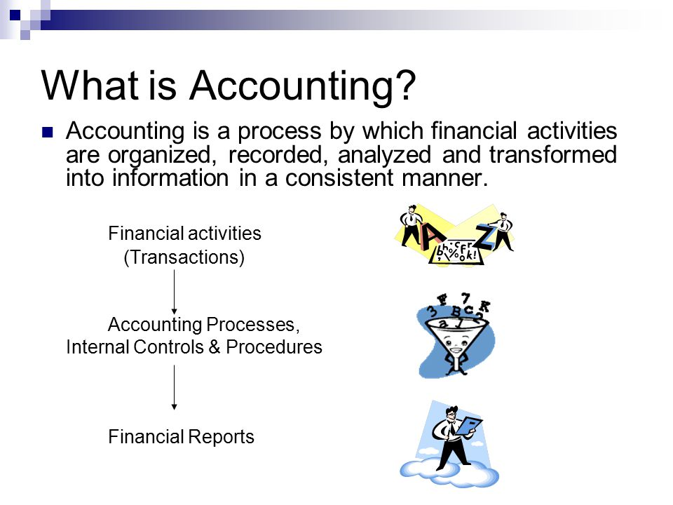 Uses & Purpose of Accounting Uses at Home Review accuracy of bank statements Verify your credit card bills Make household expenses, pay bills Uses at Work Track hours worked Order supplies Pay items ordered Take student payments It is used by everyone at home and at work The purpose of Accounting is to provide information to help you analyze the financial situation of the company or household
