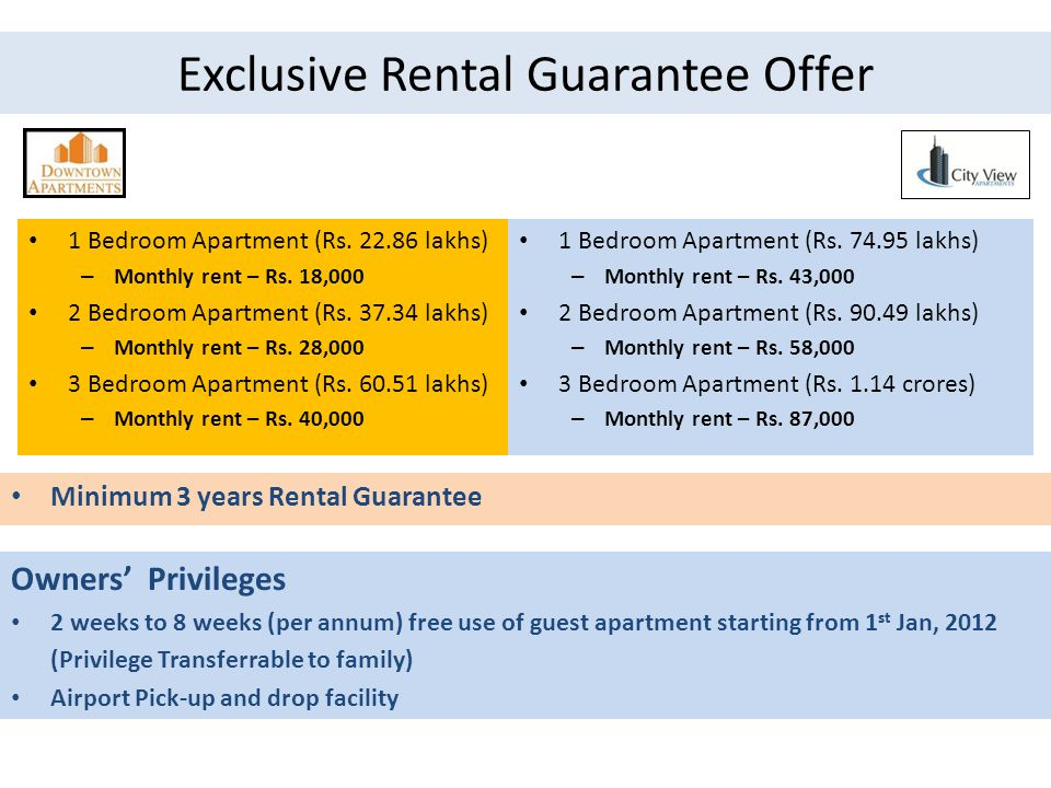 Exclusive Rental Guarantee Offer 1 Bedroom Apartment (Rs.