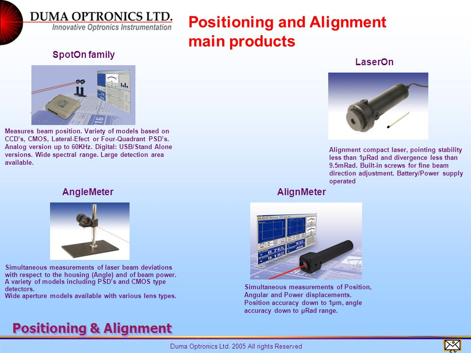 Duma Optronics Ltd. 2005 All rights Reserved Positioning & Alignment Measures beam position.