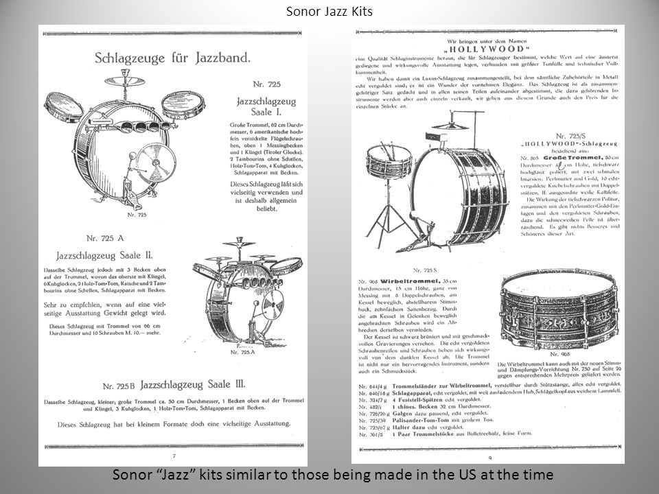 Sonor Jazz kits similar to those being made in the US at the time Sonor Jazz Kits