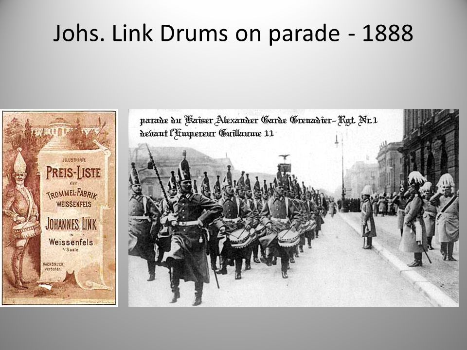 Johs. Link Drums on parade - 1888