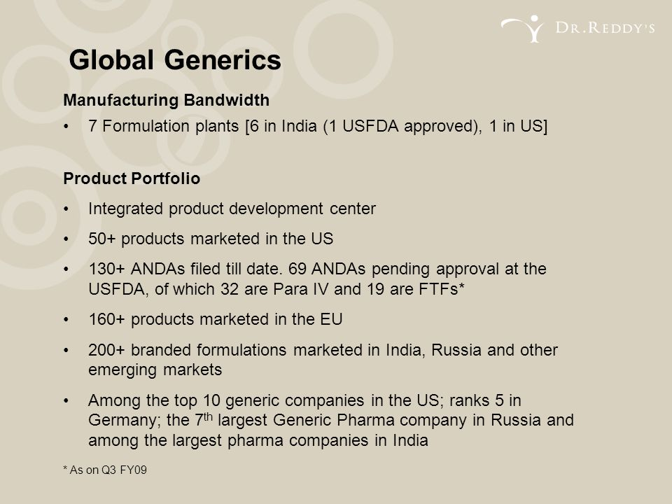 Manufacturing Bandwidth 7 Formulation plants [6 in India (1 USFDA approved), 1 in US] Product Portfolio Integrated product development center 50+ prod