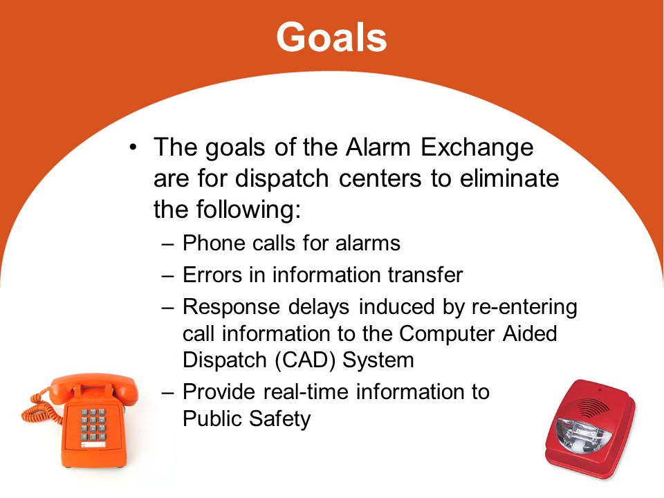 History Since 2005 APCO has been involved with improving the interface from alarm monitoring companies primarily represented by the Central Station Alarm Association (CSAA) –APCO has developed an ANSI Standard –CSAA has developed a service to support the delivery of ANSI standard messages Bill Hobgood, of Richmond, VA, has been the primary advocate for APCO