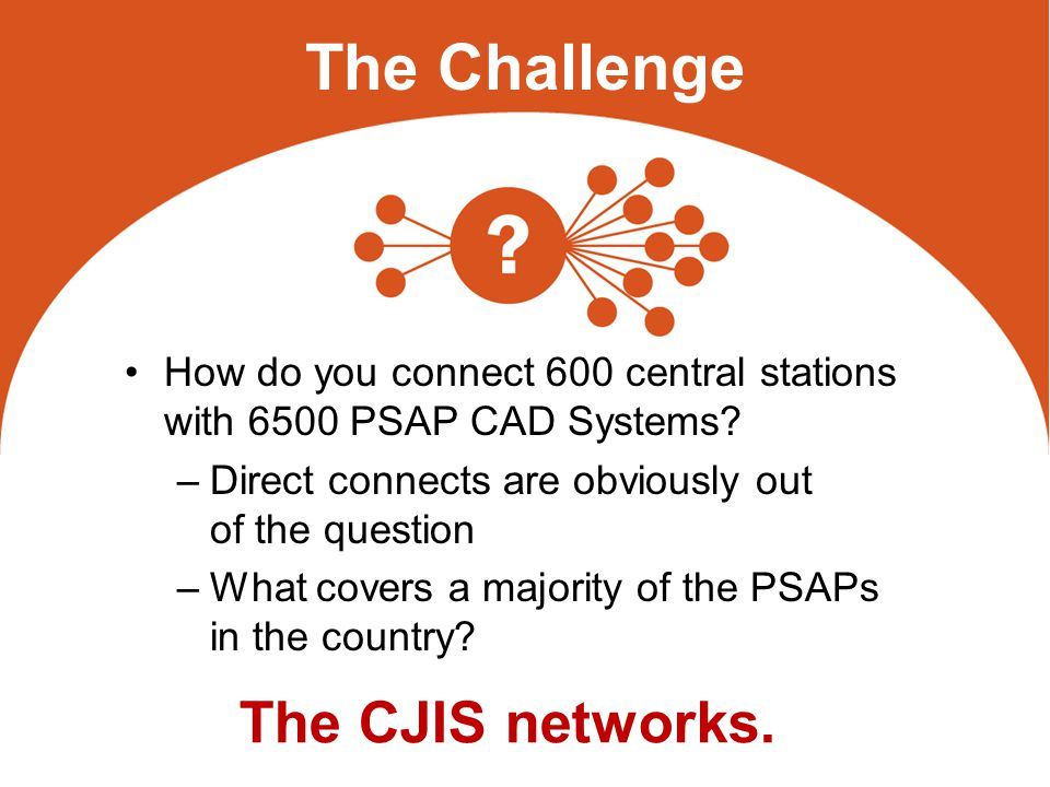 The Challenge How do you connect 600 central stations with 6500 PSAP CAD Systems.