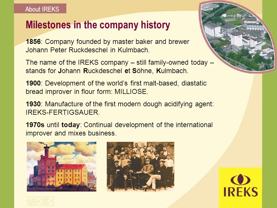 Milestones in the company history 1856: Company founded by master baker and brewer Johann Peter Ruckdeschel in Kulmbach.