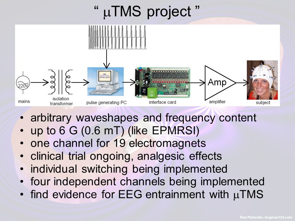 """""""  TMS project """" arbitrary waveshapes and frequency content up to 6 G (0.6 mT) (like EPMRSI) one channel for 19 electromagnets clinical trial ongoing"""