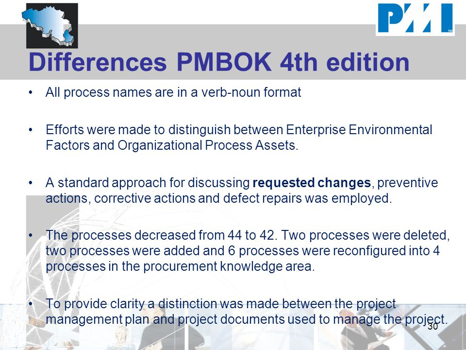 Differences PMBOK 4th edition All process names are in a verb-noun format Efforts were made to distinguish between Enterprise Environmental Factors an