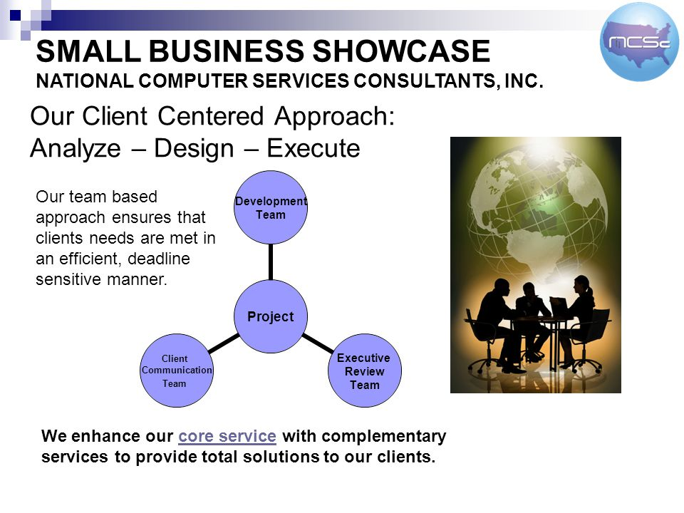Our Client Centered Approach: Analyze – Design – Execute Project Development Team Executive Review Team Client Communication Team Our team based approach ensures that clients needs are met in an efficient, deadline sensitive manner.